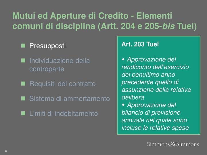 Mutui ed Aperture di Credito - Elementi comuni di disciplina (