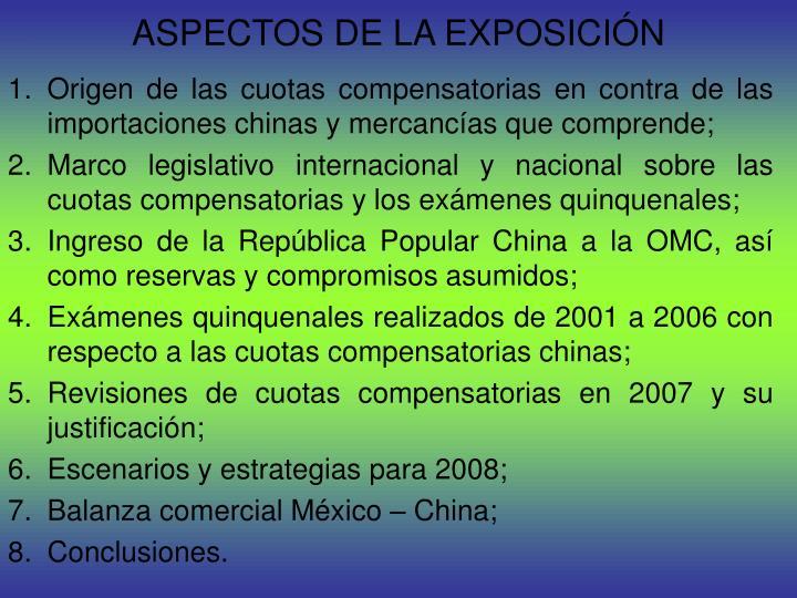 ASPECTOS DE LA EXPOSICIÓN