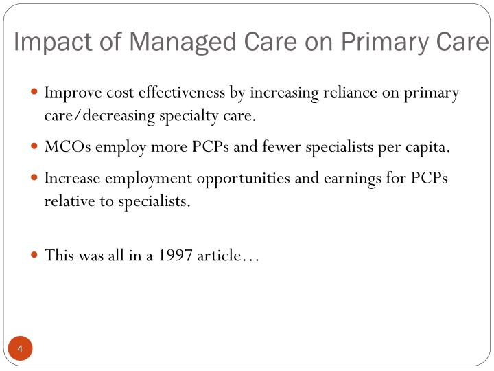Impact of Managed Care on Primary Care