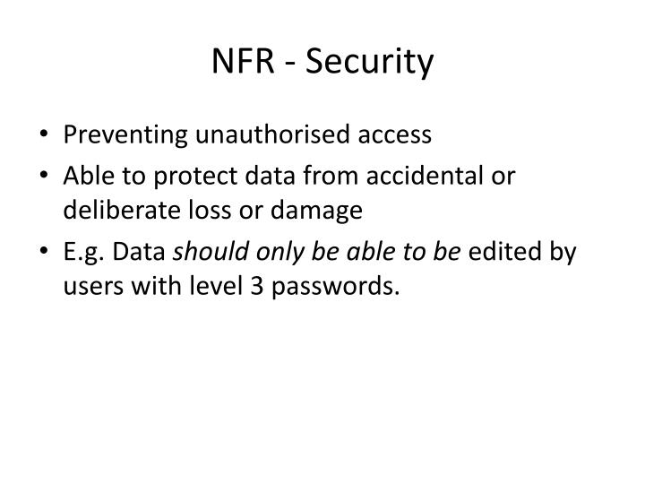 NFR - Security