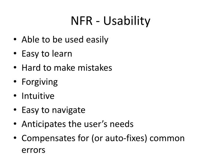 NFR - Usability