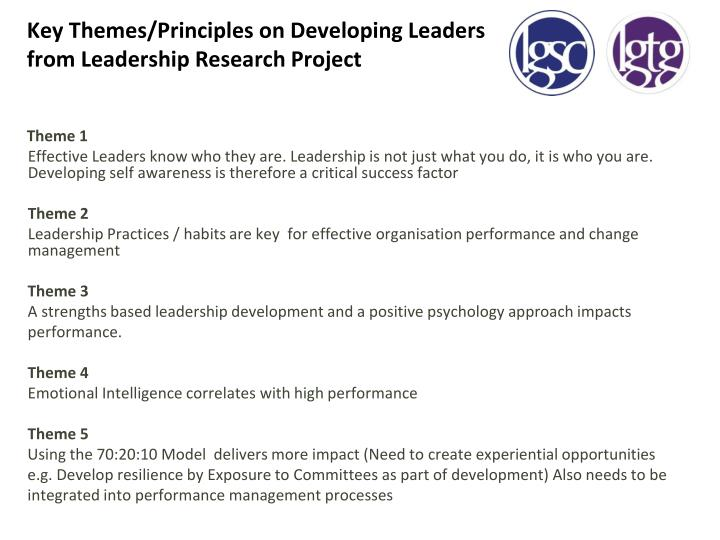 Key Themes/Principles on Developing Leaders from Leadership Research Project
