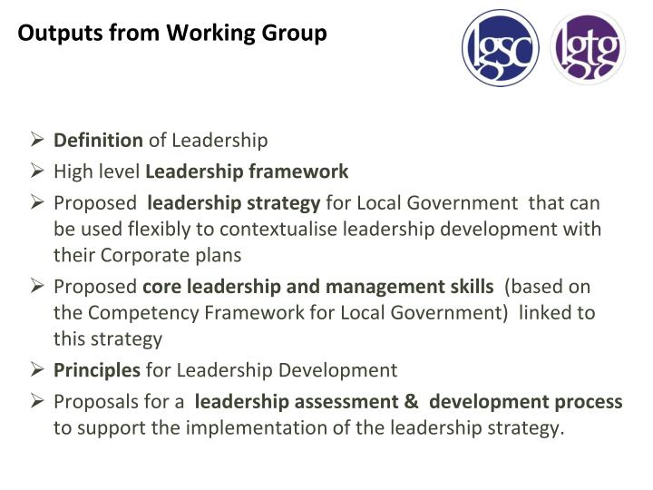 Outputs from Working Group