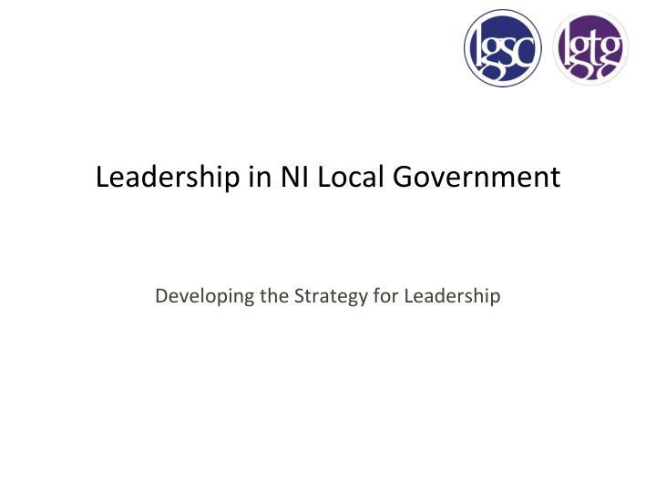 Leadership in NI Local Government
