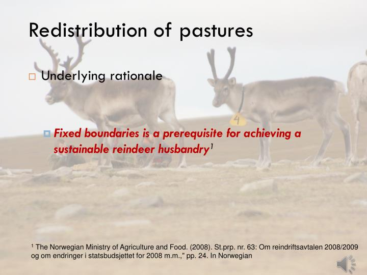Redistribution of pastures