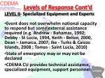 levels of response cont d