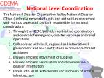 national level coordination