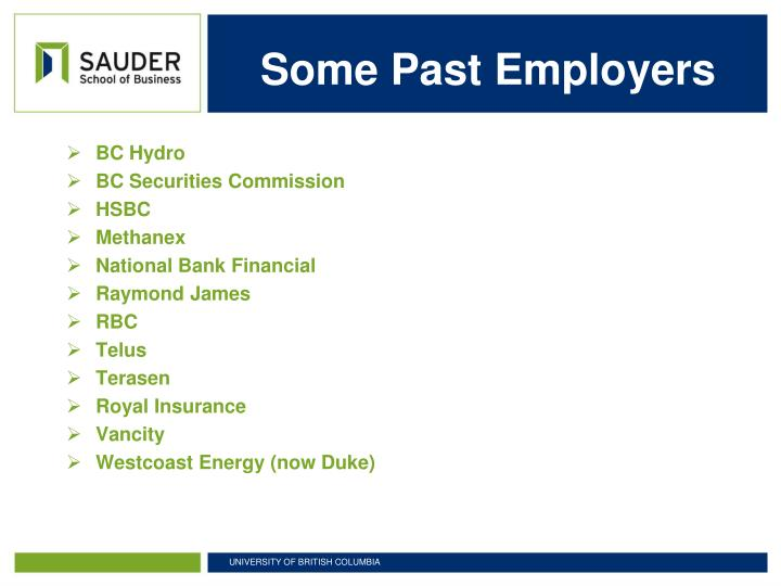 Some Past Employers