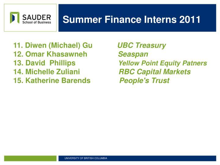 Summer Finance Interns 2011