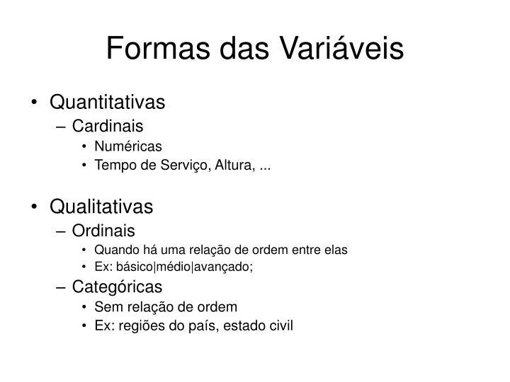Formas das Variáveis