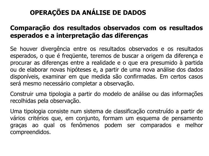 OPERAÇÕES DA ANÁLISE DE DADOS