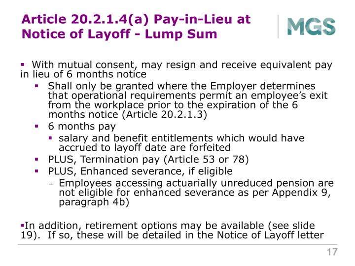 Article 20.2.1.4(a) Pay-in-Lieu at Notice of Layoff - Lump Sum
