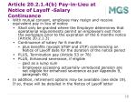 article 20 2 1 4 b pay in lieu at notice of layoff salary continuance