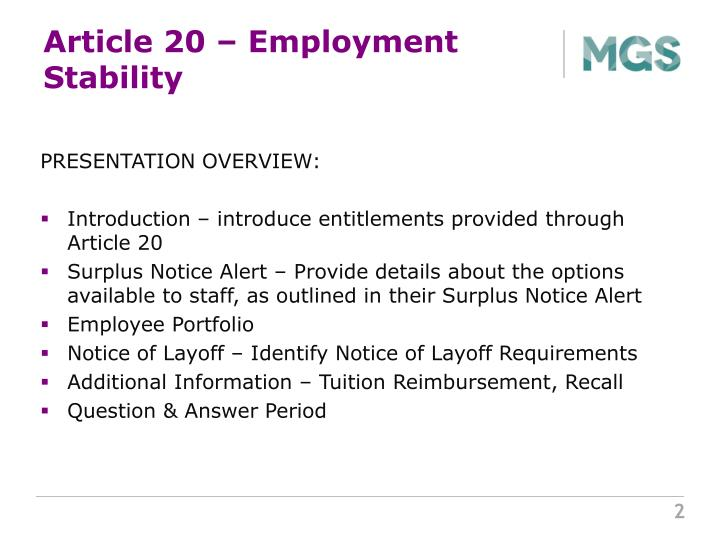 Article 20 – Employment Stability