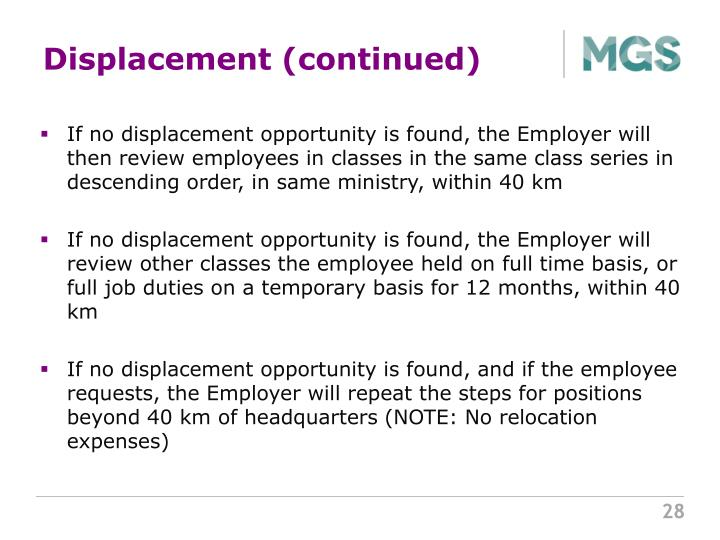 Displacement (continued)
