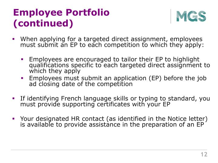 Employee Portfolio (continued)