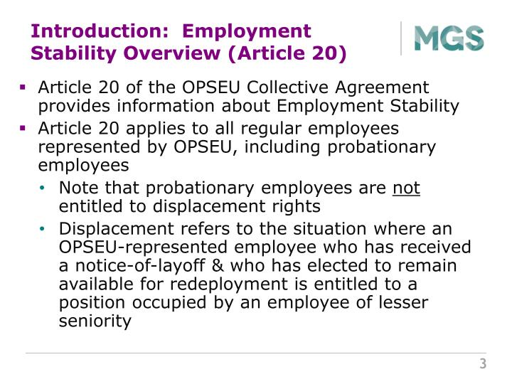 Introduction:  Employment Stability Overview (Article 20)