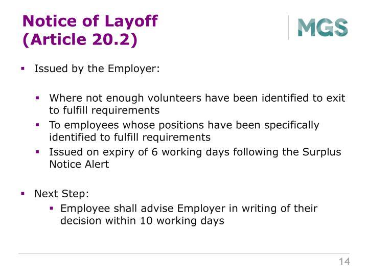 Notice of Layoff