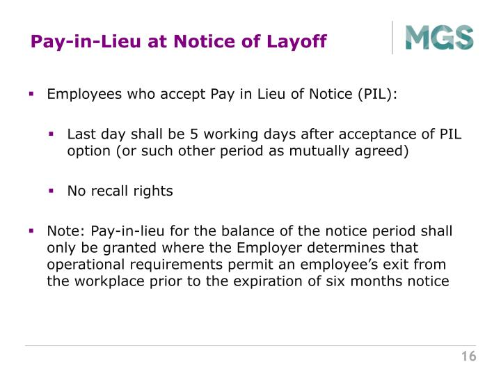 Pay-in-Lieu at Notice of Layoff