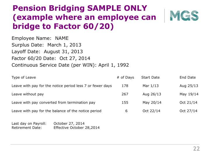 Pension Bridging SAMPLE ONLY (example where an employee can bridge to Factor 60/20)
