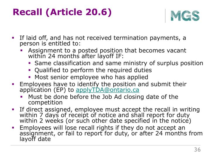 Recall (Article 20.6)