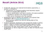 recall article 20 6