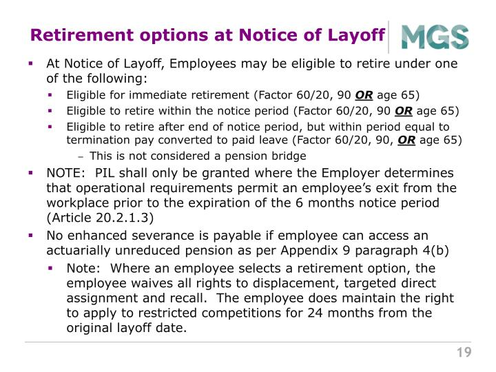 Retirement options at Notice of Layoff