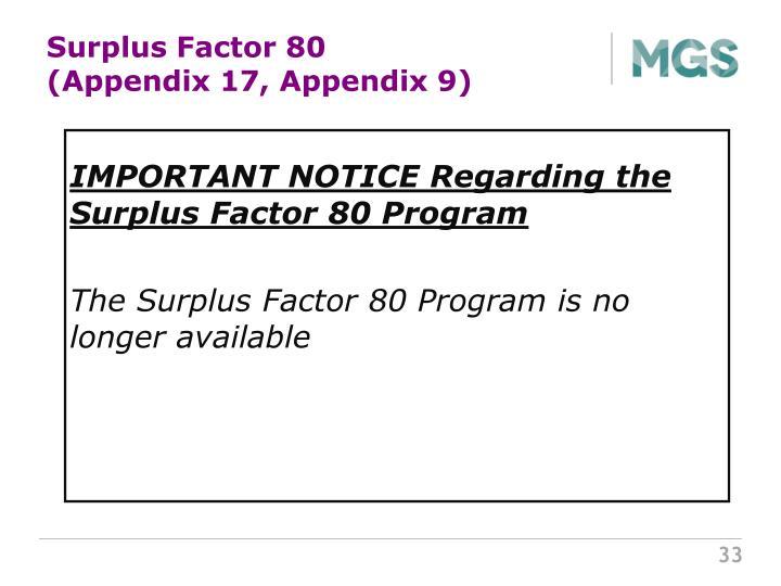 Surplus Factor 80