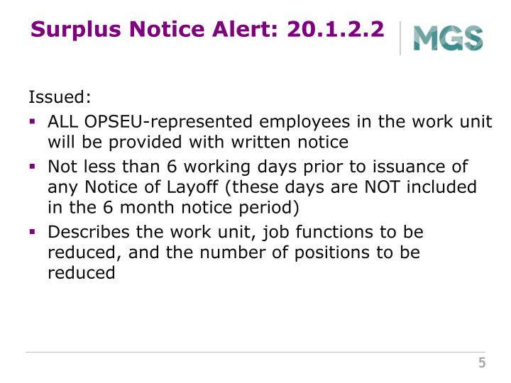 Surplus Notice Alert: 20.1.2.2