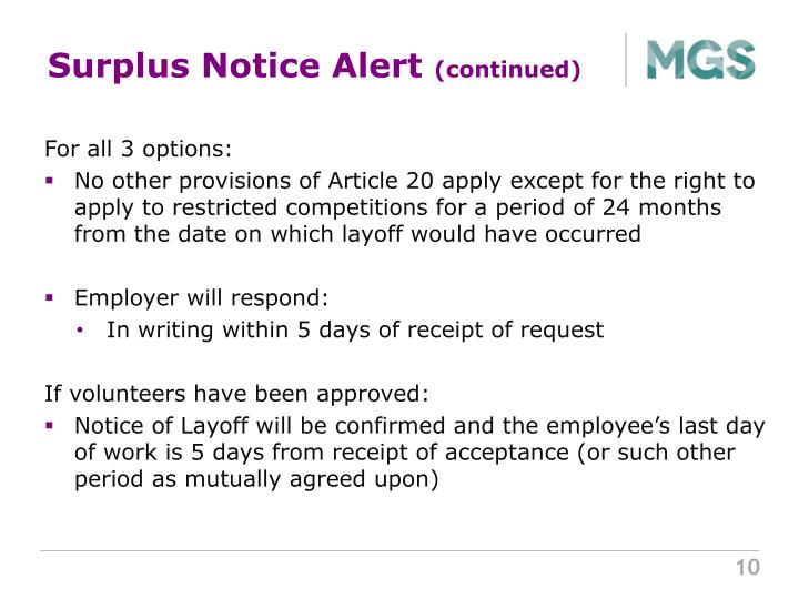 Surplus Notice Alert