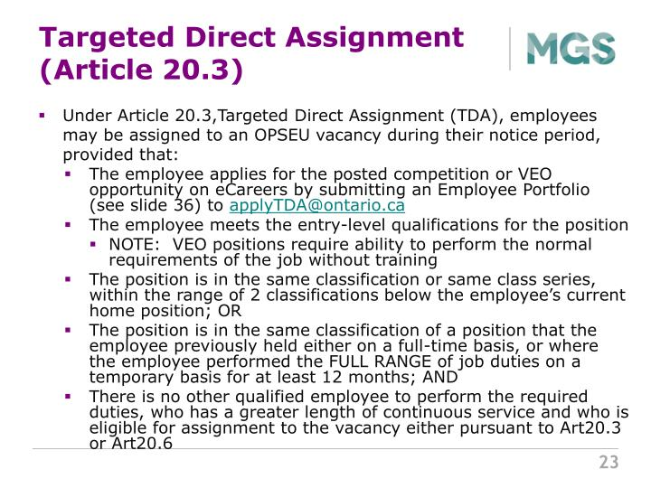 Targeted Direct Assignment (Article 20.3)