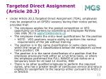 targeted direct assignment article 20 3