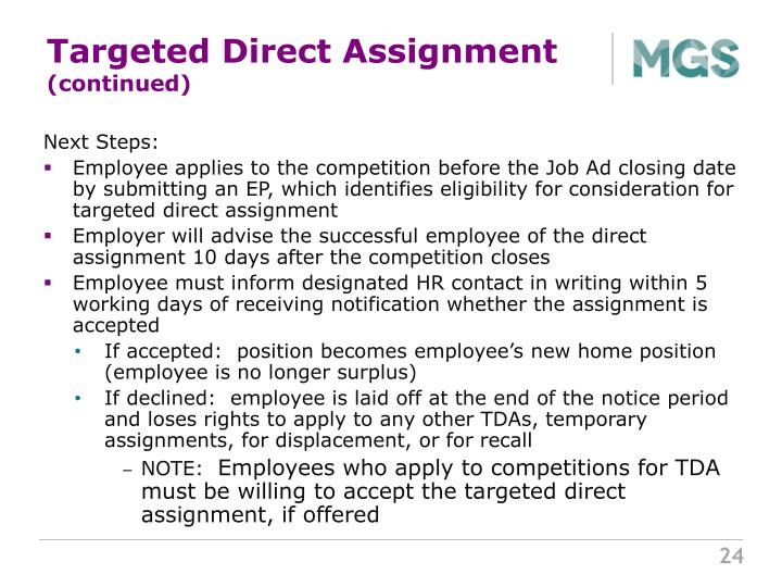Targeted Direct Assignment
