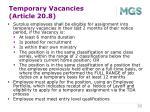 temporary vacancies article 20 8