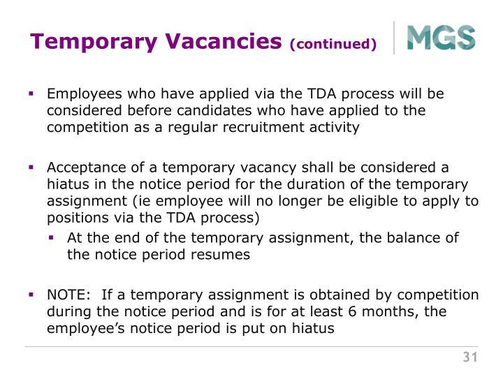 Temporary Vacancies