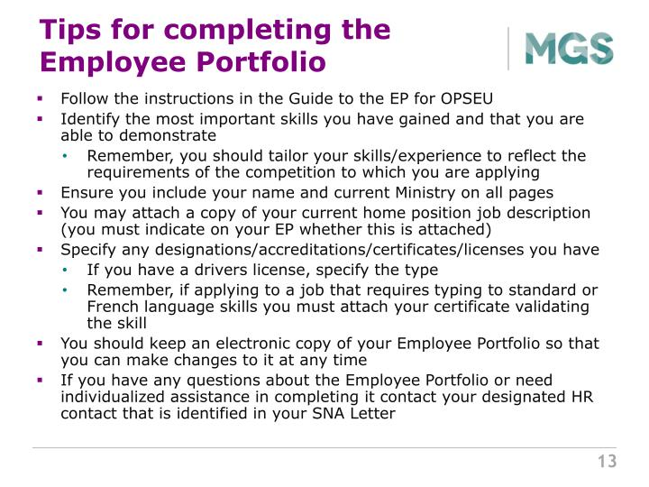 Tips for completing the Employee Portfolio