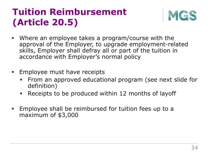 Tuition Reimbursement (Article 20.5)