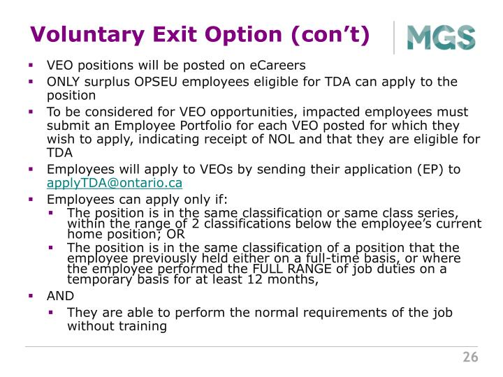 Voluntary Exit Option (con't)
