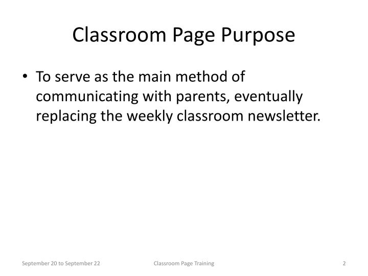 Classroom page purpose