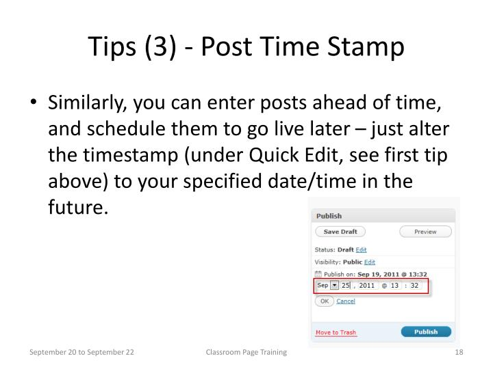 Tips (3) - Post Time Stamp