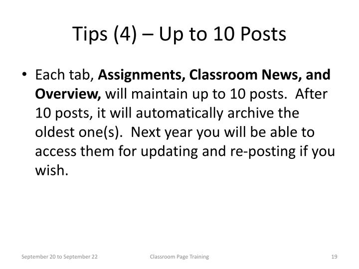 Tips (4) – Up to 10 Posts