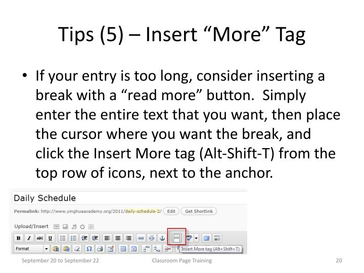 "Tips (5) – Insert ""More"" Tag"