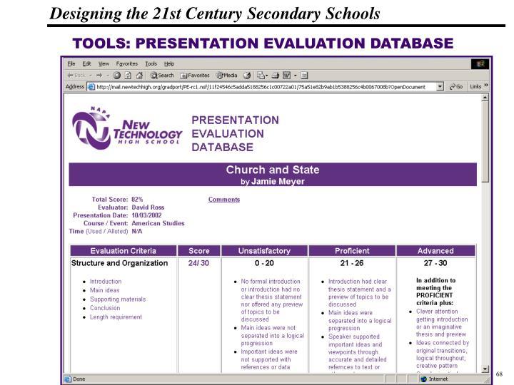 TOOLS: PRESENTATION EVALUATION DATABASE
