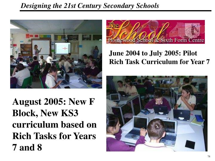 June 2004 to July 2005: Pilot Rich Task Curriculum for Year 7