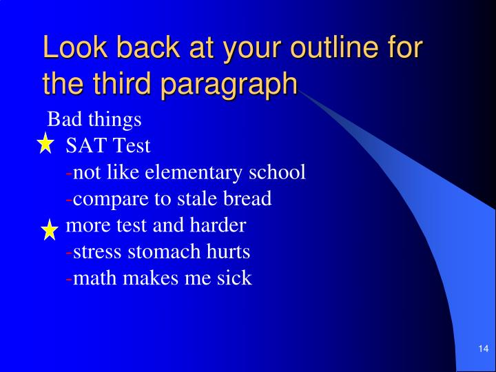 Look back at your outline for the third paragraph