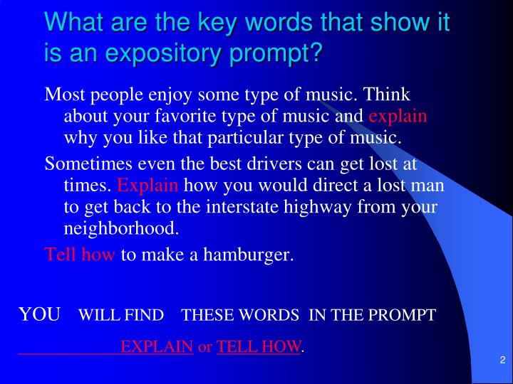 What are the key words that show it is an expository prompt?