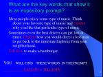 what are the key words that show it is an expository prompt