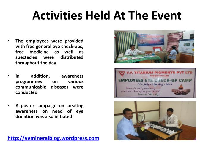 Activities Held At The Event