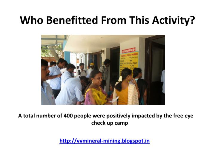 Who Benefitted From This Activity?