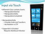 input via touch